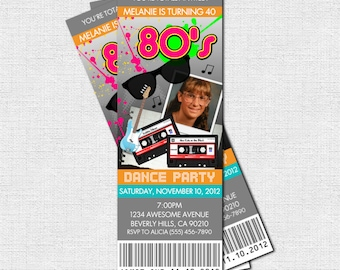80's PARTY TICKET INVITATIONS - (print your own) Personalized Printable 1980's Birthday