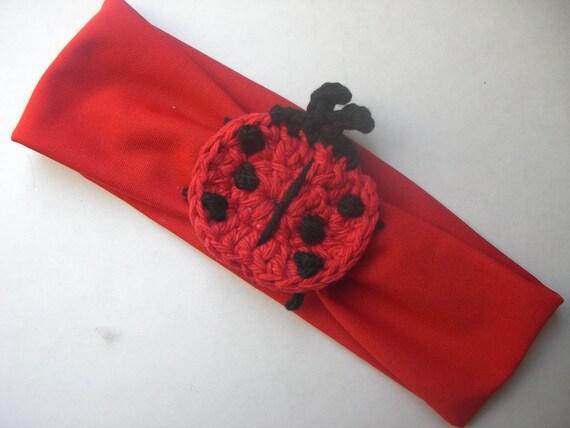 Crochet Ladybug Wide Headband