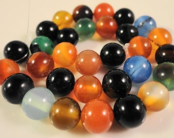 Multicolor Agate Gemstone Beads 6mm Round Dyed Agate Stone Beads for Jewelry Making on a 7 1/4 Inch Strand with 31 Beads