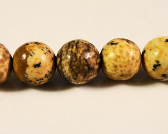"Picture Jasper Gemstone Beads 6mm Round Smooth Natural Brown Stone Ball Beads for Jewelry Making on a Full 15 1/4"" Strand with 60 Beads"