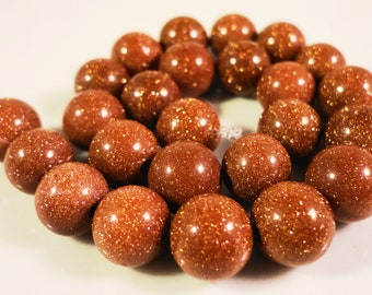 Goldstone Round Beads 8mm Sparkly Brown Man Made Faux Gemstone Beads on a 7 1/2 Inch Strand with 24 Beads