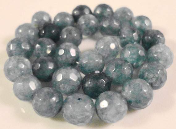Aquamarine Gemstone Beads 6mm Faceted Round Blue Semiprecious Stone Beads (Dyed) on a 7 1/2 Inch Strand with 31 Beads