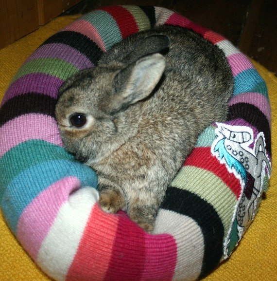 Ugli Donut bunny rabbit bed for a small sized bunny striped with dancing horse applique