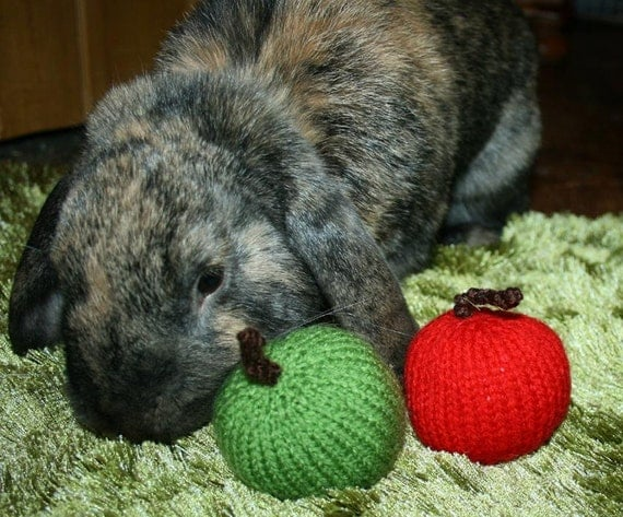 hand knitted jingle green apple bunny rabbit roll, toss and carry toy
