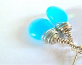 Caribbean blue earrings glass stirling silver wire wrapped drop dangle