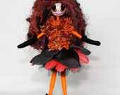 Halloween Witch Fairy Handmade Orange Black Art Doll OOAK Broomstick Witches Hat