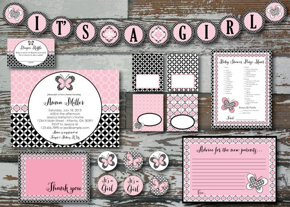 items similar to lambs and ivy duchess baby shower kit deluxe printable on etsy. Black Bedroom Furniture Sets. Home Design Ideas