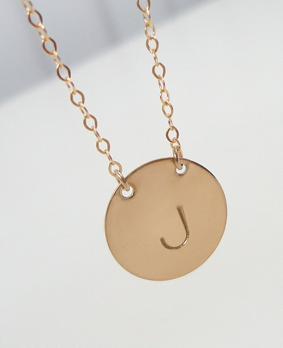 Personalized Gold Filled Initial Necklace - Celebrity Inspired Jewelry - Hand Stamped -  Mommy Necklace - Celebrity Style