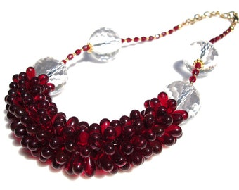 Brilliant Red Czech Glass Blossom Garland and Crystal Necklace