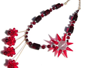 Bold Red Solar Flare Statement Necklace Czech Glass Faceted Quartz Crystal
