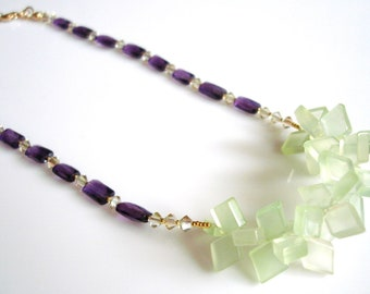 Celadon Green Chalcedony Diamonds with Faceted Amethyst Baguettes Statement Necklace