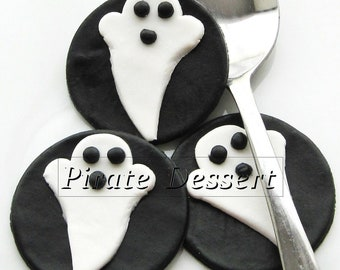 edible halloween cupcake toppers ghosts fondant cake decorations halloween cupcakes 6 pieces