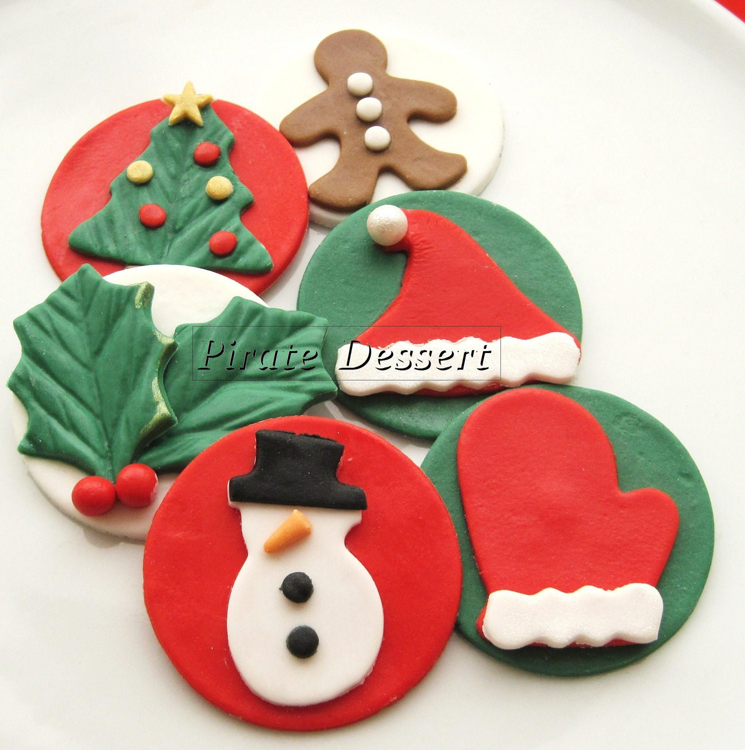 Edible Christmas Cake Images : Edible CHRISTMAS cupcake toppers Classic Holiday by ...