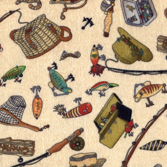 Fishing tackle flannel fabric by the yard by timeless for Fish fabric by the yard