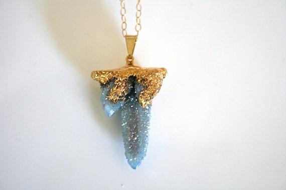 Spirit Quartz Necklace. Aqua Aura, Cactus Quartz, Druzy Necklace