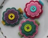 Birthday Party Favor- Spunky Felt Flower Clip Set