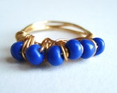 Royal Blue Beaded Ring - Wire Wrapped