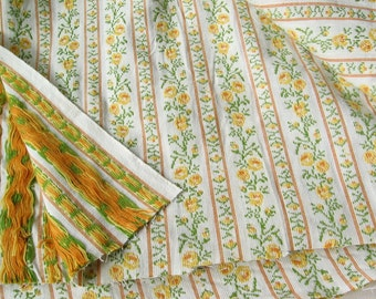 Floral stripe jacquard cotton fabric embroidered yarn dyed