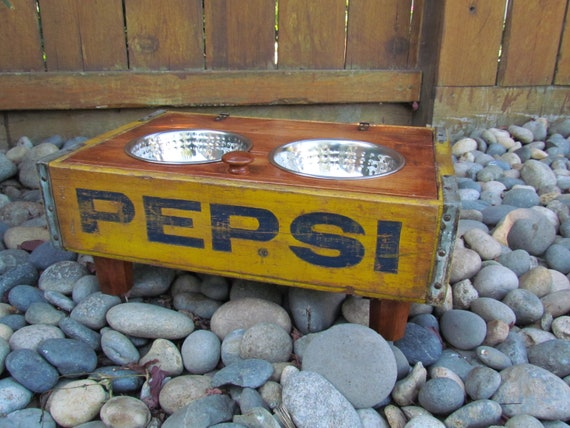 Unique Vintage Elevated wood wooden Crate dish bowl Feeder for your dog yellow Pepsi  crate repurposed dog feed station
