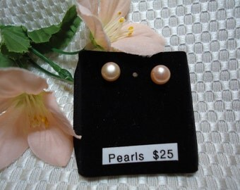 Peach Apricot Pearl Earrings in Sterling Silver