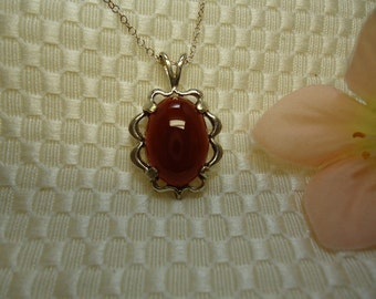 Oval Cabochon Carnelian Necklace in Sterling Silver   #364
