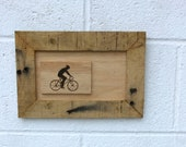 Bicycle Art - Aged Wooden Art Biker Wood Burning