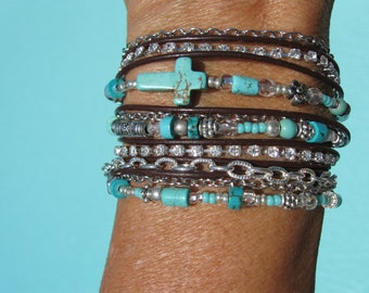Turquoise Leather Wrap Bracelet, Boho ~ Western - Endless Leather -  Wrap Bracelet