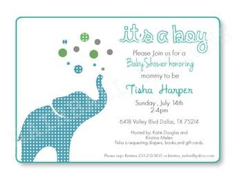 Printable Digital  Elephant Baby Shower Invitation