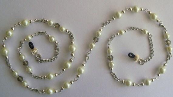 Eyeglass Holder, Silver Plated Eyeglass Chain, Handmade