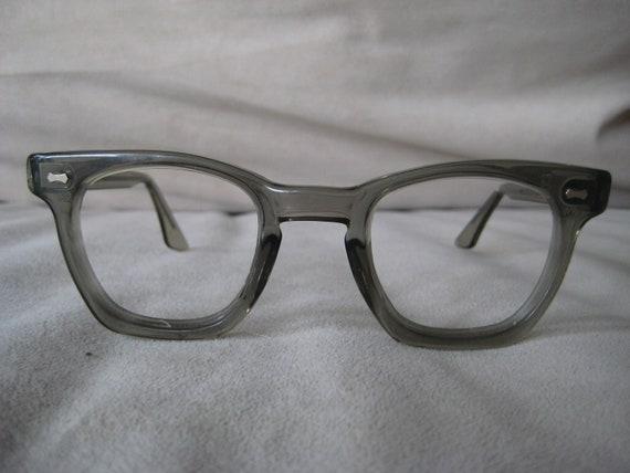 US SAFETY Horned Rim Mad Men Era eyeglasses clear gray frames vintage 1960's
