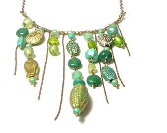 Green Beads and Brass Necklace 21.5 Inches Long