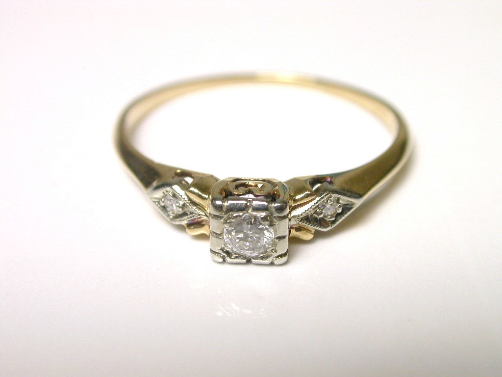 14k yellow gold vintage diamond engagement ring size 7 1 2