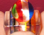 Lucite Multi-Color Striped Modernist Pop Art Ring Size 7