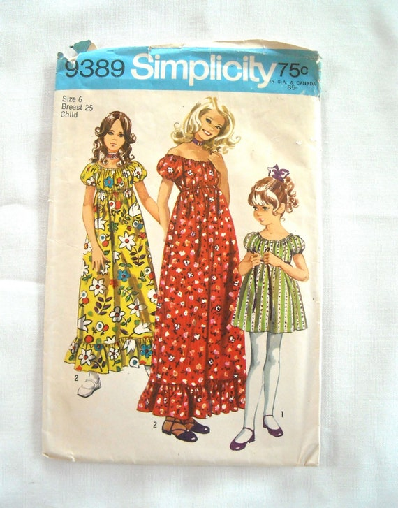 Vintage Girls Peasant Dress Pattern, Simplicity 9389, Boho Chic, 1970s
