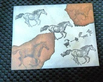 Galloping Horse Notecard with Petroglyphs