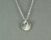 Brushed Sterling Silver Disc Necklace, Sterling Silver Chain, Simple, Sweet, Pretty Jewelry