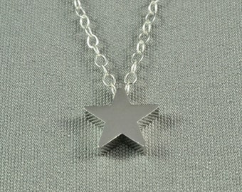 Tiny Silver Star Necklace, Sterling Silver Chain, Simple, Cute, Delicate Necklace