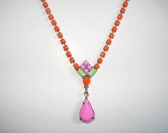 Rainbow Sorbet Hand Painted Vintage Rhinestone Necklace, 16 Inches