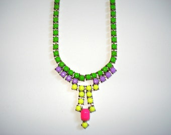 Neon Candy Couture Hand Painted Vintage Rhinestone Necklace, 14 3/4 Inches