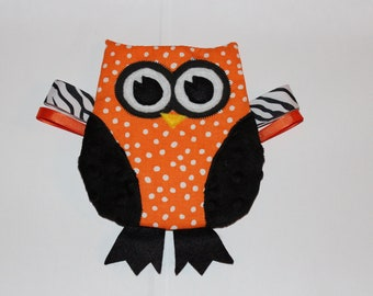 OSU Owl Crinkle Toy in Orange and Black Christmas Gift for Baby and Cowboys