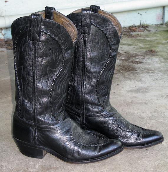 vintage cowboy boots black leather wide calf