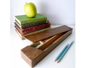 Back to School - Wooden Pencil Box - Office - Home Decor - Classroom - Student Dorm - Mid Century, 1950's Vintage, Primitive