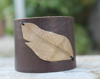 Leather cuff  with bronze feather