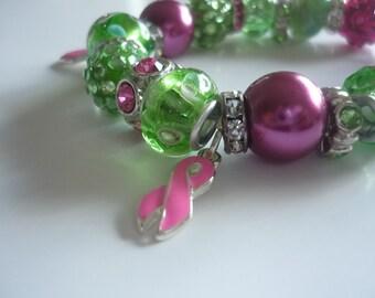 Bashful Breast Cancer Charm Bracelet