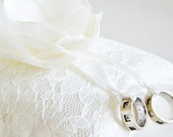 handmade wedding ring pillow ivory satin wrapped ivory lace ribbon handmade fabric organza flower pearl embellishment bridal accessory