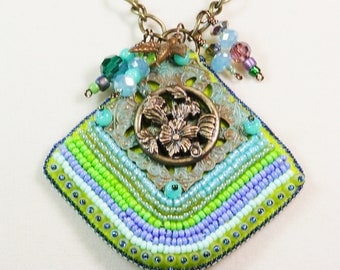 Bead Embroidery Necklace, Victorian Chic with Bead Charms