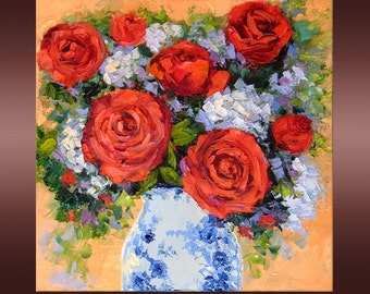 """Red Rose Still Life Oil Painting Palette Knife Impasto Textured Impressionist Original Wall Art on 12x12"""" Canvas"""