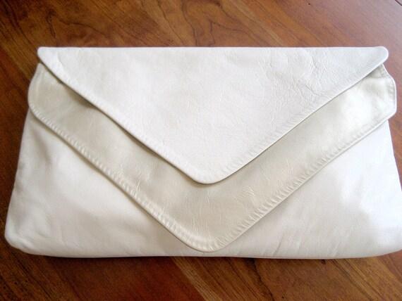 Leather Clutch or Shoulder Bag - Purse / Cream White Gold Clutch / Ohh Ashely Purse Bag Clutch