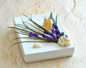 Peacock Feather Lavender Shell OOAK Jewelry Gift Box