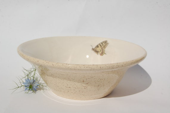 Cream Butterfly Bowl, Ideal Fruit/Salad Bowl, Kitchen/Dining Room Decor